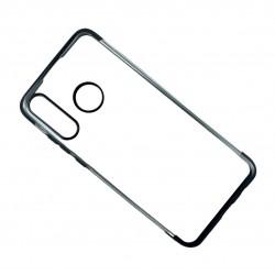 Прозрачен гръб - кейс от силикон - TPU с цветна част отгоре и отдолу за Huawei P30 Lite (ЧЕРЕН)