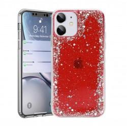 Гръб - кейс с големи и малки брокати за iPhone 12 Pro (ЧЕРВЕН)