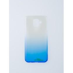 Преливащ твърд гръб - кейс от тънък поликарбонат за Samsung Galaxy J6 (ПРОЗРАЧНО - СИН)