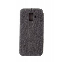 Vennus - калъф - тефтерче с текстил за Samsung Galaxy J6 (ТЪМНО СИВО)