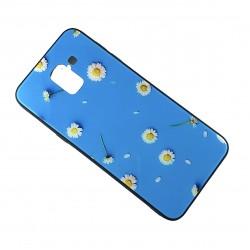 GLASS CASE - силиконов кейс с гладък гръб от стъкло за Samsung Galaxy J6 (сини цветя)